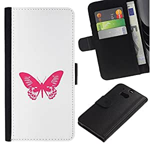 APlus Cases // HTC One M8 // Mariposa minimalista Rosa Blanco Primavera // Cuero PU Delgado caso Billetera cubierta Shell Armor Funda Case Cover Wallet Credit Card