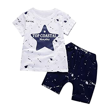 04a6bae19dea 2 Piece Shorts Set For Toddler Baby Kids Boys Girls Star Print T-Shirt Tops
