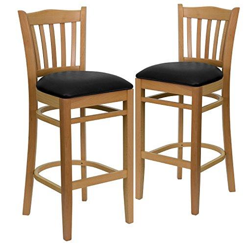 Flash Furniture 2 Pk. HERCULES Series Vertical Slat Back Natural Wood Restaurant Barstool - Black Vinyl Seat (Black Natural Bar Stools)