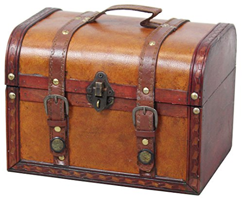 Small Steamer Trunk - Vintiquewise QI003006.L TM Decorative Wood Leather Treasure Box (Large Trunk Only)