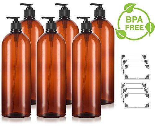 (Amber 32 oz Large Boston Round PET Bottles (BPA Free) with Black Lotion Pump (6 pack) + Labels)