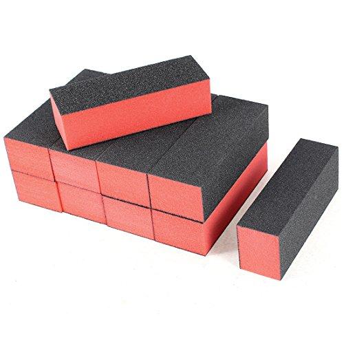 uxcell 10 x Black Red Nail Polisher 4 Way Buffer Buffing Block Manicure File