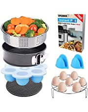 Apluskis 6 PCS Cooking Accessories Set Compatible with Instant Pot 5,6,8 Quart Qt Pressure Cooker with Steamer Basket Recipes E-Book,Silver
