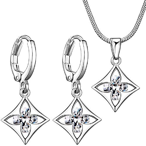 Worry-Free Shopping 18K Gold-Plated Four-Leaf Flower Marquise Cut Hoop Earring+Necklace Set (White Gold) ()
