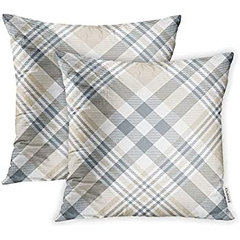 Emvency Set of 2 Throw Pillow Covers Print Polyester Zippered Brown Tartan Plaid Check Pattern in Beige Tan Grey and White Gray Abstract Pillowcase 18x18 Square Decor for Home Bed Couch Sofa