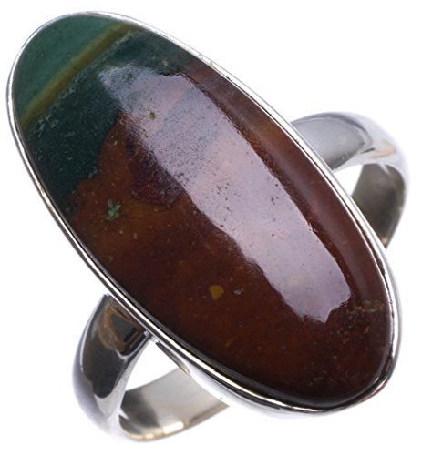 StarGems(tm) Natural Blood Stone Handmade Vintage 925 Sterling Silver Ring, US size 9 T7280 (Stone Italian Ladies Tm)