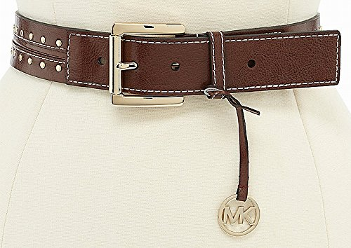 Michael Kors Women's Leather Belt With Piping And Studded Details- Medium