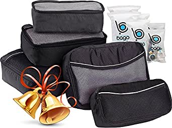 5 Packing Cubes For Travel Luggage or Suitcase + 6 Toiletry Zip Bags Organizers (Black)