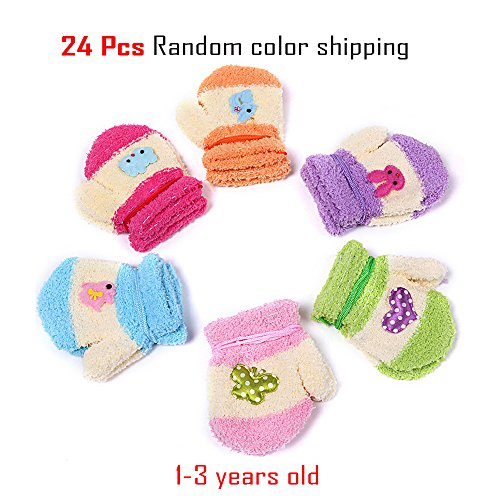Ovation Elastic (COFFLED Wholesale Pack of 12 Half Cashmere Children Winter Gloves,Girls Cute Winter Acessories)