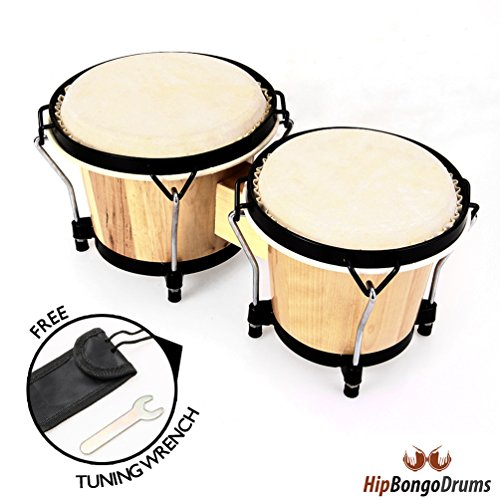 Hip Bongo Drums | Most Preferred Bongo Drums | All Natural Hides and Shells Perfect Percussion Sound | Extra Durable and Weatherproof | Built for Rough Handling By Beginners and Enthusiasts | No Sharp Edges To Hurt Kids Beautiful Design | Tunable Bongos 6 & 7 Inch | 266
