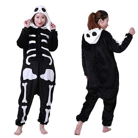 DUKUNKUN Pijama Disfraz De Adulto Cálido Suave Negro Blanco Noche ...