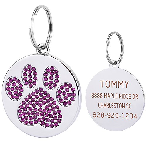 Vcalabashor Violet Rhinstones Cat & Dog Tags for Small Medium Large Dogs/Polished Mirror-Finished Stainless Steel/Sparkly Diamonds Paw Printed/Clear Laser Engraved / 1.0