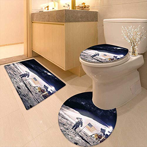 3 Piece Toilet lid Cover mat Set Astronaut on Moon American