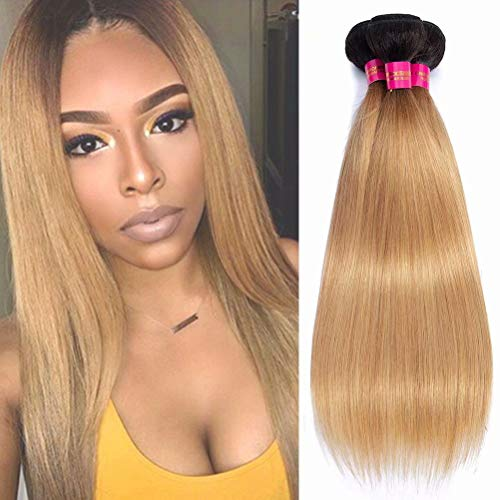 - 1B/27 Brazilian Ombre Honey Blonde Human Hair 3 Bundles Straight Deal, 2 Tone Ombre Brazilian Straight Human Virgin Hair Extensions Bundles Double Weft(3pcs mixed length 18 18 20 inch)