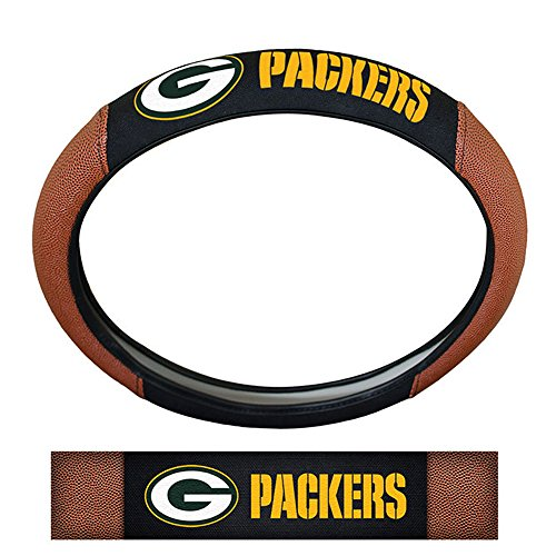Green Bay Packers NFL Team Logo Auto Car Truck SUV Vehicle Universal Fit Poly-Suede Mesh with Football Skin Premium Embroidered Steering Wheel Cover