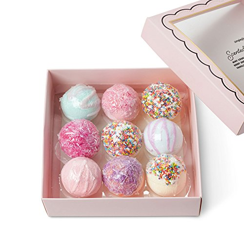 Mini Bath Bombs Gift Set: Tri-Coastal Design Simple Pleasures Fizzy Bath Bombs for Kids and Women - Girls Luxury Spa Quality Scented Bath Bomb Fizzies - Ultra Lush Moisturizing Bath - Peach Bomb Bath