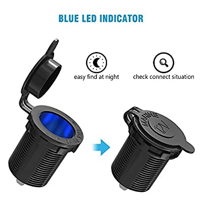 Cigarette Lighter Socket Car Marine Motorcycle Power Supply Outlet Receptacle Waterproof Cigarette Lighter Adapter Plug DC 12V/24V with Blue LED Indicator for ATV RV Boat SUV Bus Truck: Car Electronics