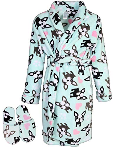 Sleep & Co Big Girls Fleece Robe with Slippers Set, Light Blue Bull Dog, ()