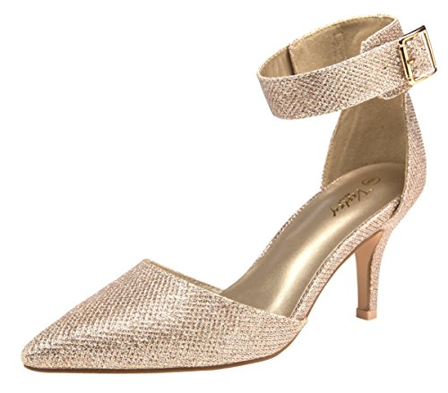 (VOSTEY Women Heels Pointed Toe Low Heel Dress Shoes Ankle Strap Pumps (7,Gold Glitter))