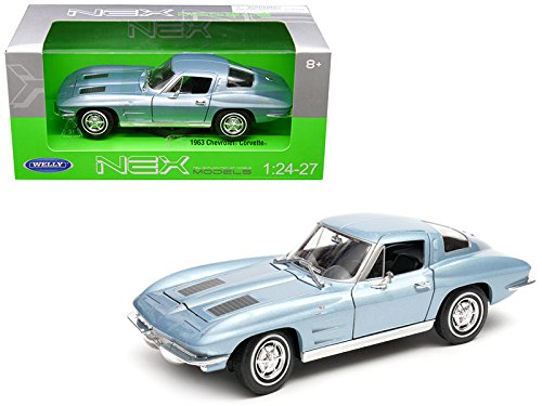 Diecast Blue Metallic Car (Welly 1963 Chevrolet Corvette Metallic Light Blue 1/24-1/27 Diecast Model Car by 24073BL)