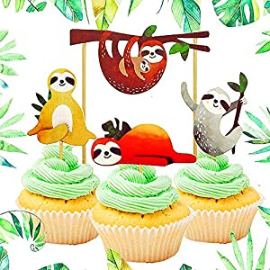 Cute Sloth Cupcake Decoration 32 Piece Cake Set