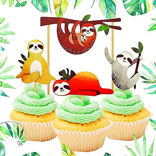 Cute Sloth Cupcake Cake 32 Piece Set Decoration