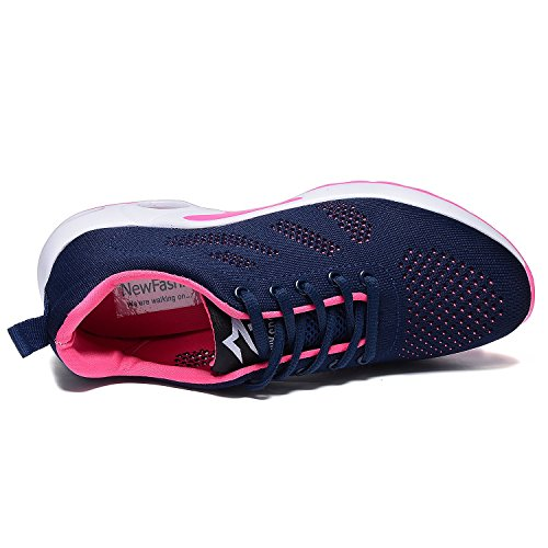 ODEMA Women's Running Sneakers Summer Breathable Lowtop Air Cushion Gym Sports Shoes Dark Blue fVG6ge