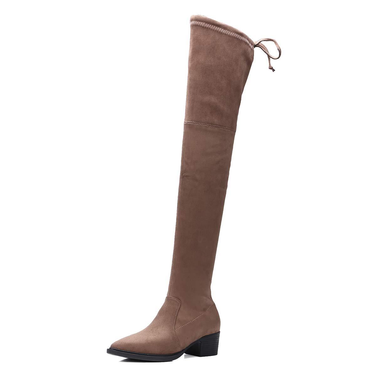 A 39 1 3 EU JQfashion Heels Damen Overknee Winterstiefel aus Velourslederimitat, Oberschenkelhohe Stiefel f&uu ;r Damen