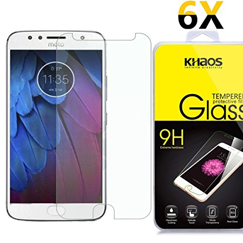 [6 Pack] Khaos For Motorola Moto G5S Plus HD Clear Tempered Glass Screen Protector , with Lifetime Replacement Warranty