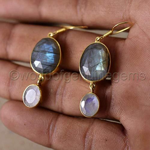 Labradorite earrings Long earrings Minimalist earrings Gold plated earrings Fashion jewellery Gift earrings Genuine gemstone Gift