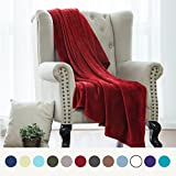 Flannel Fleece Luxury Blanket Red Throw Lightweight Cozy Plush Microfiber Solid Blanket by Bedsure