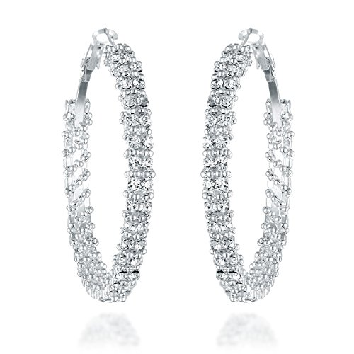 Gemini Womens Silver Plated Swarovski Crystal Big Large Round Hoop Earring Gm008, Size: 1.5 inches, Color: Silver