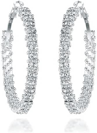 Gemini Women's Silver Plated Swarovski Crystal Zirconia Big Large Round Hoop Earrings Gm008 , Size: 1.5 / 2 inches , Color: Silver