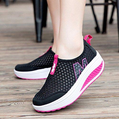 Zapatillas Hishoes Mujer de de a Verano Ligero Zapatos Cu Deporte Plataforma Negro Malla rxXBrq0