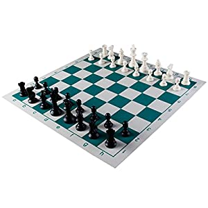 "Amerous Chess Set 17"" x 17"" Roll-up Travel Chess in Carry Tube with Shoulder Strap Easy to Carry for Beginner and Kids"