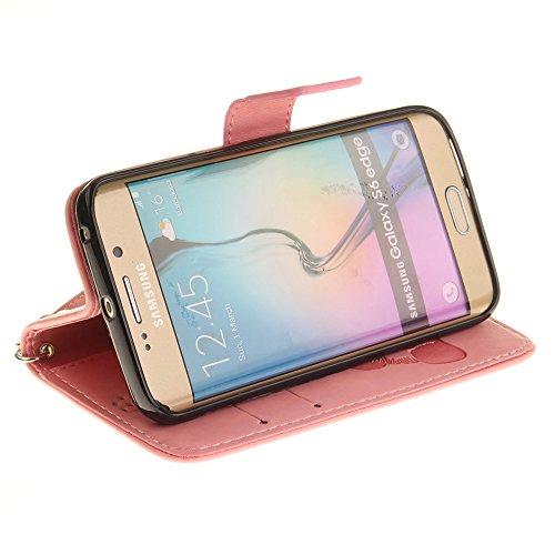 JIALUN-Personality teléfono shell Samsung Galaxy S6 Edge Case, Color sólido 3D Panda lindo en relieve de cuero de la PU cubierta de la caja con ranuras para tarjetas Lanyand para Samsung Galaxy S6 Edg 1