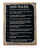 Cheap Dog Rules Metal Sign Framed on Rustic Wood , Humorous Rustic Den, Kennel