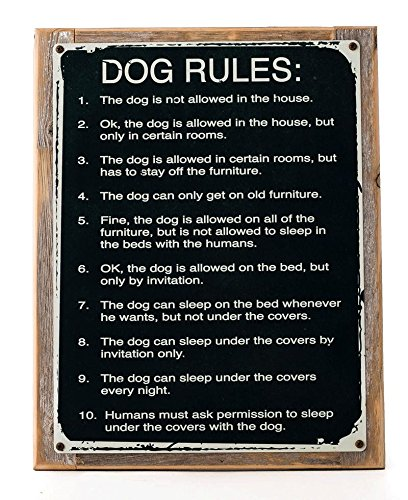 Dog Rules Metal Sign Framed on Rustic Wood , Humorous Rustic Den, Kennel