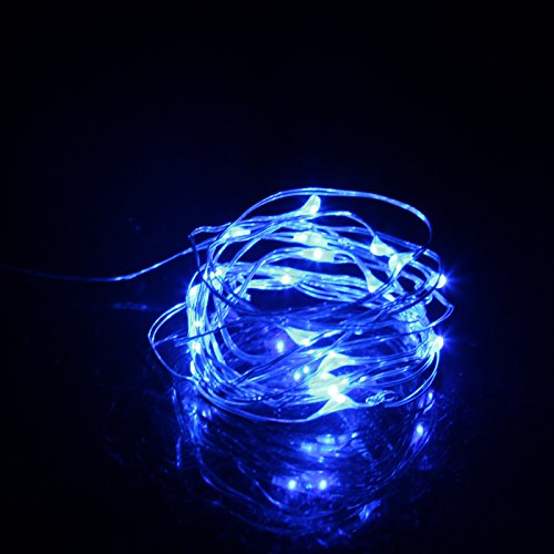 Homemade Eve Costume Ideas (HDE 20 Micro LEDs Fairy String Lights Battery Operated Starry Dorm Room DIY Craft Lighting 7ft Flexible Copper Wire (Blue))