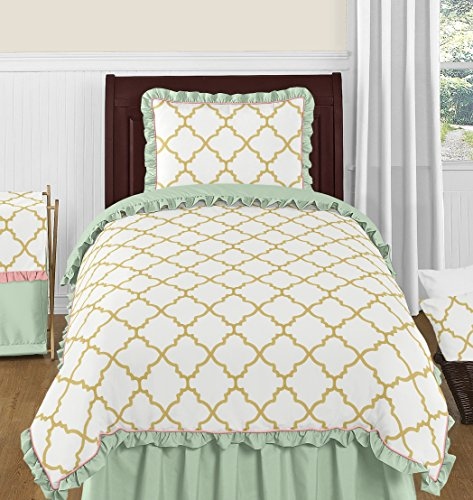 - Sweet Jojo Designs 4-Piece Ava Mint Coral White and Gold Trellis Girls Twin Bedding Set Collection