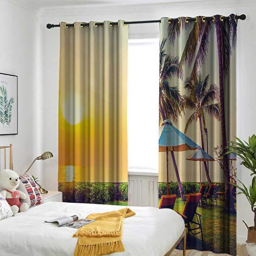(Seaside Decor Collection Umbrella and Chair on The Beach Palm Trees Grommet Indoor Curtains Room Darkening Thermal 84