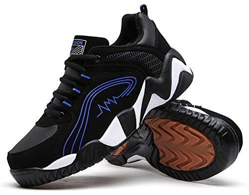 Santimon Sportschuhe Laufschuhe Herren mit Luftpolster Turnschuhe Profilsohle Sneakers Leichte Schuhe Trekking Wanderhalbschuhe Winterschuhe Warm Gefütterte Blau
