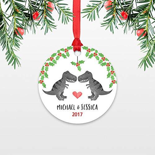 (Georgia Barnard Personalized Christmas Ornaments T-Rex Dinosaur Couple Wedding Christmas Ornament Engagement Ornament Engaged Ornament Christmas Decoration Keepsake Gift 3