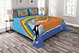Lunarable Cartoon Bedspread Set King Size, The Ark with Funny and Cute Animals Dolphins Swimming in Artistic Design Print, Decorative Quilted 3 Piece Coverlet Set with 2 Pillow Shams, Multicolor