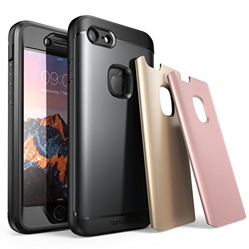 iPhone 7 Case, iPhone 8 Case, SUPCASE Water Resistant Full-Body Rugged Case with Built-in Screen Protector with 3 Interchangeable Covers for Apple iPhone 7 2016 / iPhone 8 2017