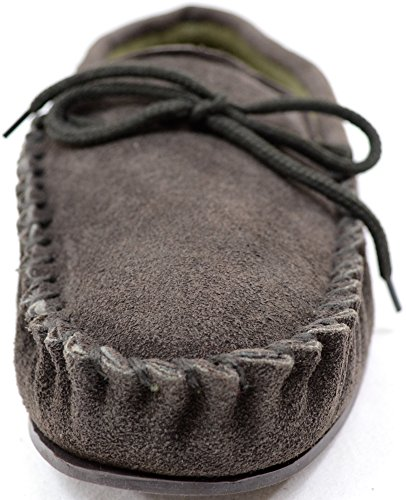 Mens Traditional Genuine Suede Leather Moccasin / Slippers with Rubber Sole Brown t1LEKtx