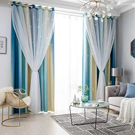 Pnik Colorful Double Layer Star Cut Out Eyelet Curtains for Kidss Bedroom Living Room 100 x 250cm Calmson Blackout Curtains