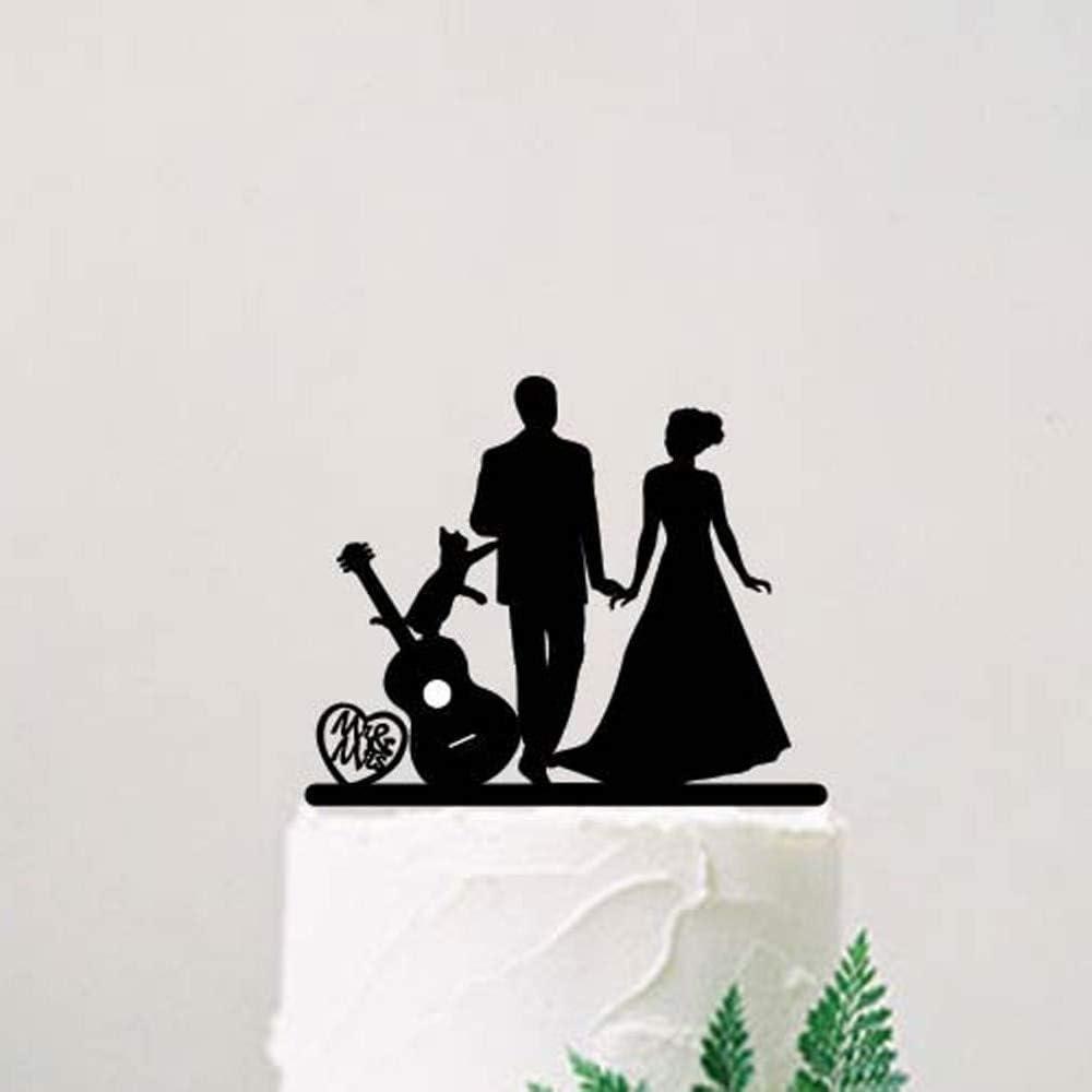 Decoración para tarta de boda, novia y novio con guitarra y gato ...
