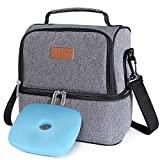 Lifewit Insulated Lunch Box Lunch Bag for Adults/Men/Women, Water-Resistant Leakproof Soft Cooler Bento Bag for Work/School/Meal Prep, Dual Compartment, 7L, Grey [ with Blue Ice Pack ]