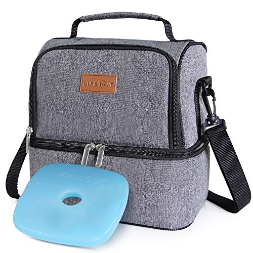 Lifewit Insulated Lunch Box Lunch Bag for Adults/Men/Women, Water-Resistant Leakproof Soft Cooler Bento Bag for Work/School/Meal Prep, Dual Compartment, 7L, Grey [ with Blue Ice Pack ] (Adult Boxes Male Lunch)
